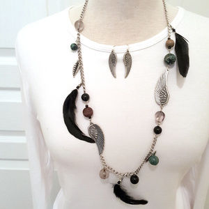 Long Black Feather Angel Wing Necklace Set